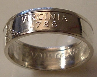 2000 Silver Virginia State Quarter Coin Ring  (90 Percent Silver) (Available in size 4 through 9)