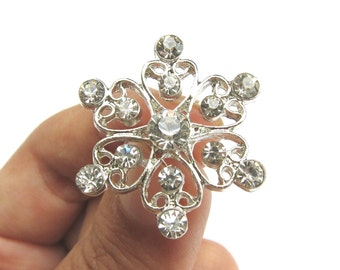 New Arrival - 5 Crystal Rhinestone buttons - Wedding Hair Accessories Shoe Clips Ring Pillow Bouquet RB-125 (28mm or 1.1 inch)