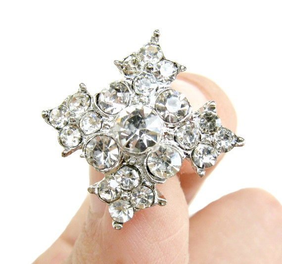 5 Rhinestone buttons for Wedding Decoration Invitation Card Ring Pillow Scrapbooking RB-057 (17mm or 0.7inch)