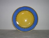 Vintage blue and yellow serving bowl made in Italy by Furio