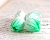 Flower beads, Yellow Tulip beads,flower pendants, Mint focal beads, statement beads - mint and white tulips buds - 4 pcs