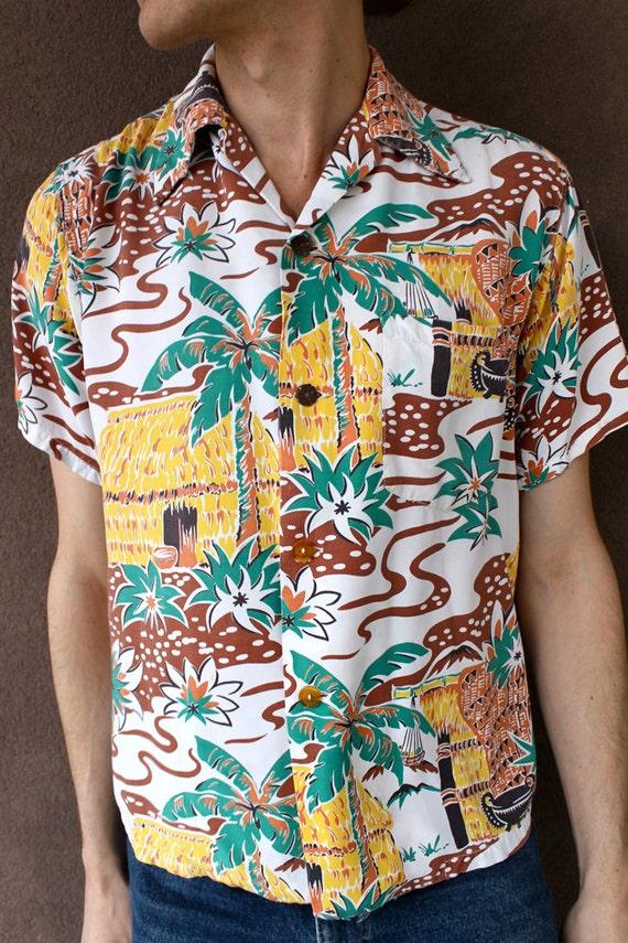 Vintage 1940 39 s rare men 39 s hawaiian shirt tiki print for Lsu hawaiian print shirts