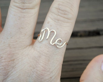 Word Ring, Wire Word Ring Adjustable Wire ME Non Tarnish Silver Plated Wire