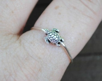 Wire Ring Tiny Turtle Non Tarnish Silver Plated Wire Adjustable