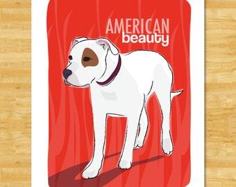 American Bulldog Art Print - American Beauty - American Bulldog Gifts Dog Art