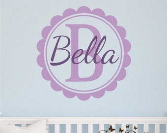 Custom Name and  Monogram, Custom Vinyl wall decals stickers, nursery, kids & teens room, removable decals stickers