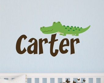 Personalized Name With Alligator, Custom Vinyl wall decals stickers, nursery, kids & teens room, removable decals stickers