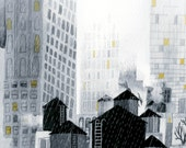 New York City in the Rain, print