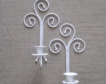 Cottage Chic White Metal Candle Sconce Pair