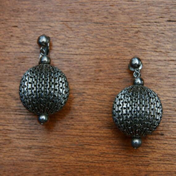 Vintage silver Toned Filigree Ball Earrings