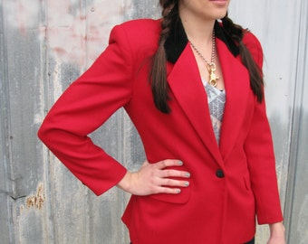 Vintage 1980s Red WOOL Riding Jacket Blazer with Black Collar Equestrian by Toff's