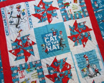 Dr Suess Quilt The Cat in the Hat for Baby or Toddler MADE TO ORDER