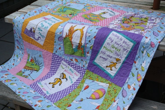 Dr Seuss Baby Girl Quilt Oh The Places You Ll Go By Bellazahn