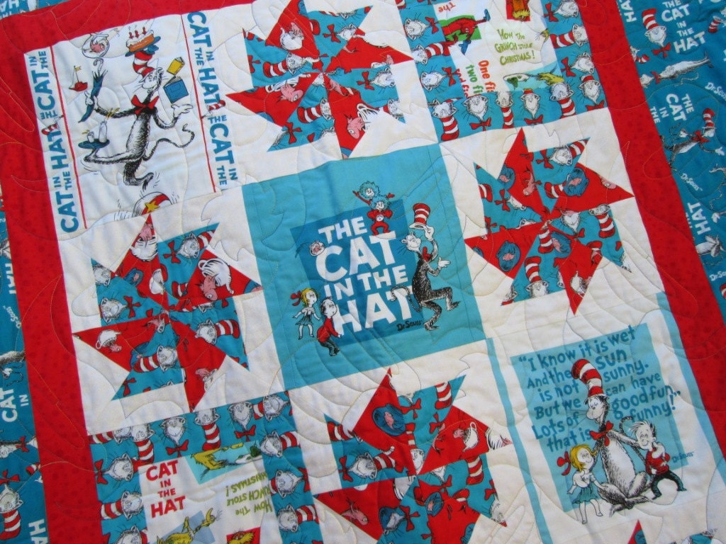 Dr Suess Quilt The Cat In The Hat For Baby Or Toddler Dr