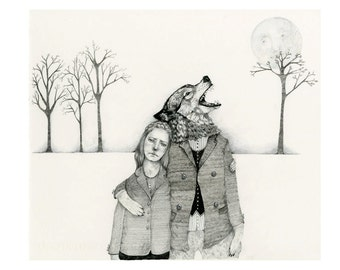 Pencil drawing Print Girl with Werewolf 8x11