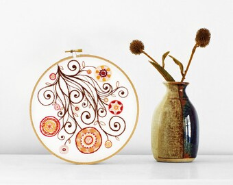 Embroidered Flower Garden in Brown and Warm Colors Orange, Red, Mustard Yellow, 7 inch Hand Embroidery Hoop Wall Art by SometimesISwirl