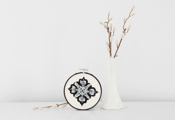 30% Off - Gray, Sky Blue and Black Embroidered Filigree Mandala -  4 inch Embroidery Hoop Art