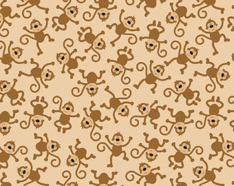 Riley Blake Designs  Zoofari Brown Monkeys Fabric - 1 yard