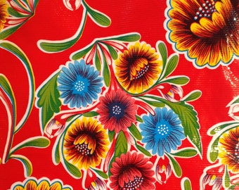 """47"""" Round Red Bloom Oilcloth Tablecloth"""