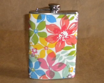 Bridal Party Gift Watercolor Floral Print 8 ounce Stainless Steel Gift Flask KR2D 6320