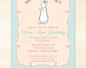 Pat the Bunny Inspired Personalized Birthday Invitations - 1st Birthday - Printable Digital JPEG File