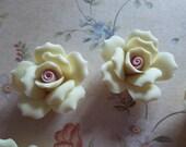 Soft Pastel Yellow Ceramic Rose Flower Flat Back 27mm Cabochons - Qty 6