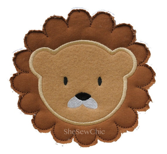 Raggy Lion Applique Machine Embroidery Design (021)