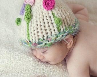 Baby Girl flower Hat Newborn Girl flower hat Photo Prop Newborn hat Baby flower hat Knit baby hat Crochet Infants Baptism Waiting for spring