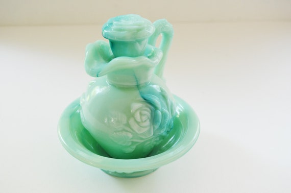 Clearance.... was 15 -Vintage aqua blue marbled milk glass Avon decanter