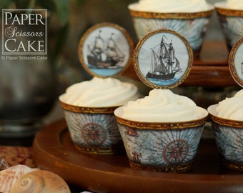 Pirate Ships -Printable Cupcake Topper And Wrapper Set- Simply Print, Cut, Assemble, Enjoy