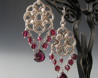 Helm Circle Chain Maille Earrings with Garnet