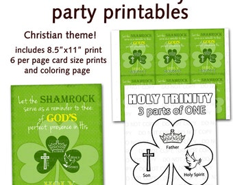 Printable DIY St. Patrick's Day Christian Religious Party Bundle - Shamrock Holy Trinity