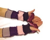 Unique Arm Warmers for Women - Fingerless Gloves - Upcycled - Purple and Pink Stripe