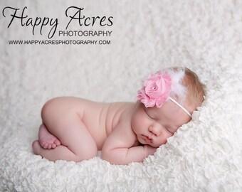 PINK chiffon headband, shabby chic headband, newborn headband, baby headband, photography prop