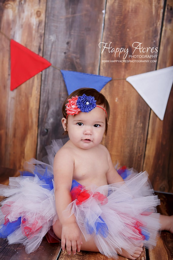 July 4th tutu....ALL AMERICAN GIRL.....tutu with matching headband.....Perfect  for July 4th, Memorial Day, Homecomings, Parades, Photos