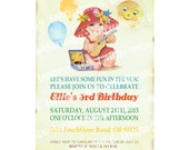 BBQ Party Invite / Beach Party Invitation / Vintage Girl Birthday Party / Swimming Party / Summer / Sun / BBQ / Baby Shower Invitation  IN49