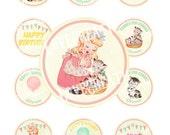 Digital PRINTABLE Vintage Birthday Tea Party Girl Kitty Daughter Children Nursery Cupcake Cake Topper Circle Label Tags Sheet Images Sh293