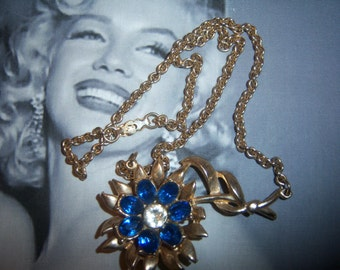 1950's Sapphire Blue Glass Stone Flower Necklace