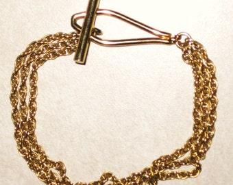 Vintage Bracelet, 3 Strand Gold Chain