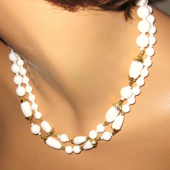 vintage necklace white glass