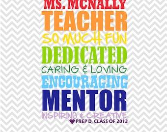 TEACHER printable, teacher gift, Subway Art Typography - Printable - custom and personalized, TEACHER APPRECIATION, daycare, preschool