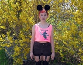 SALE! Crop Tank - Tank Top -  Neon Pink - Neon Ink - NO EXIT- Mickey Mouse - Silkscreen - Hand Painted - American Apparel