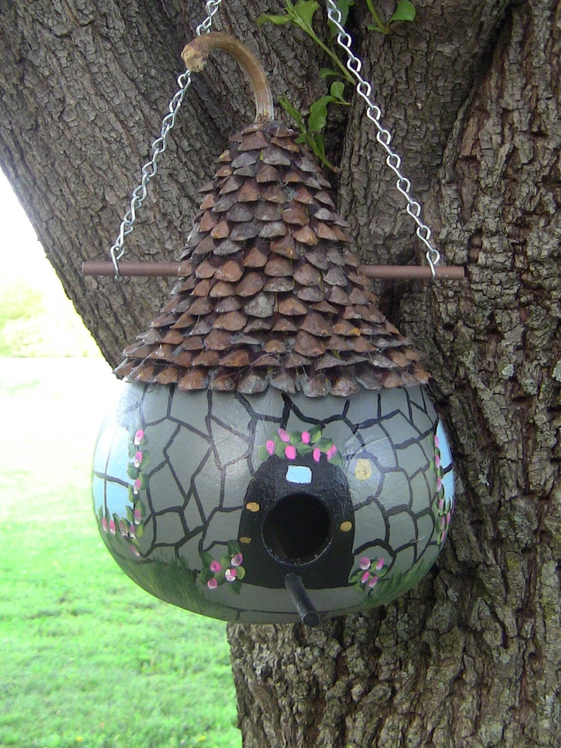 Old English Greystone Cottage Birdhouse Gourd By