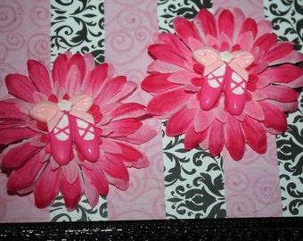 Pink Ballet Flower Clips