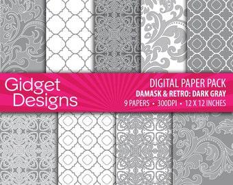 Gray Digital Paper Pack Damasks Quatrefoil Patterns Silver Platinum Party Invitation DIY Wedding Instant Download Printable