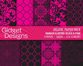 Black and Pink Digital Paper Pack Damask Quatrefoil Patterns Scrapbook Paper Printable Paper