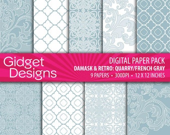 Gray Digital Paper Pack Damask Patterns French Gray Scrapbook Paper Printable Paper