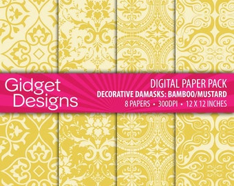 INSTANT DOWNLOAD Digital Paper Pack: Decorative Damasks - Bamboo / Mustard / Yellow