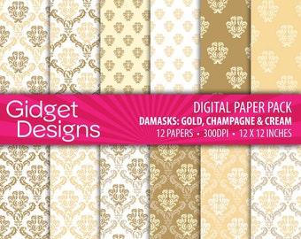 Gold Digital Paper Pack Printable Damask Pattern Gold Champagne Cream DIY Wedding Stationery Bridal Shower Great Gatsby