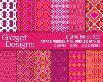 Pink Digital Paper Pack Patterned Paper Pink and Orange Free for Commercial Use